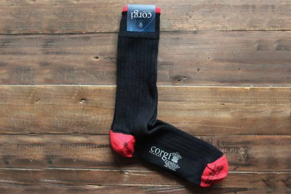 Corgi Socks/棉毛混紡(深藍紅)