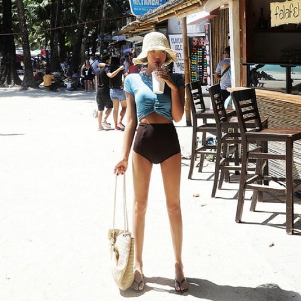 梨卡★現貨 - 氣質甜美[高腰遮肚+顯瘦]保守款二件式短袖防曬比基尼兩截式泳裝泳衣CR431-1 甜美,性感,V領,集中,有鋼圈,純色,顯瘦,皺褶,連身,泳衣,比基尼,泳裝