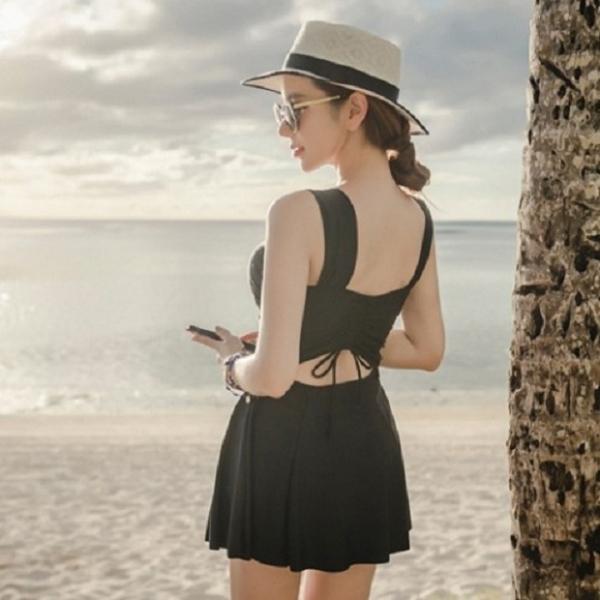 梨卡 - 甜美[挖洞後綁帶+集中鋼圈]黑色顯瘦裙式遮腿大尺碼溫泉連身比基尼泳裝泳衣C956 黑色,連身,比基尼,泳裝,泳衣,有鋼圈