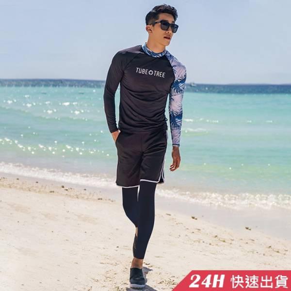 【現貨】梨卡 - 男款加大尺碼多件式長袖三件式衝浪衣潛水服泳衣套裝泳裝泳衣CR694-1 情侶款,加大尺碼,多件式,三件式,衝浪衣,潛水服