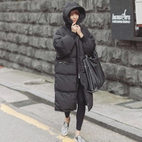 梨卡 - 小中大尺碼M-3XL韓國爆款/匹諾曹朴信惠款超長版仿羽絨鋪棉風衣外套保暖大衣A811
