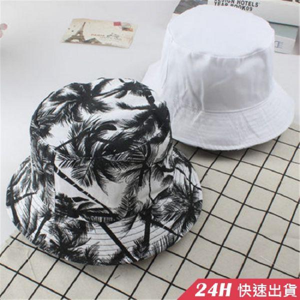 【現貨】梨卡 - 情侶可戴盆帽遮陽帽沙灘帽 - 綠色椰子樹【雙面可戴】可折男女黑色印花度假海邊防曬帽M188