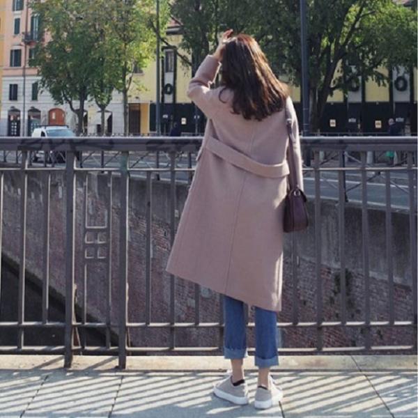 梨卡 - 韓國空運甜美加厚仿羊毛中長版繫帶雙排扣毛呢大衣風衣西裝外套A417 韓國空運,韓國製,甜美,加厚,仿羊毛,中長版,繫帶,雙排扣,毛呢,大衣,風衣,西裝外套