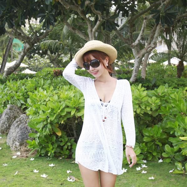 梨卡 - 情侶款沙灘泳衣比基尼 沙灘超薄長袖透明外套/單件C5012 情侶款,沙灘,泳衣,比基尼,沙灘,超薄,長袖,透明,外套,罩衫