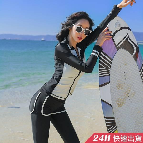 【現貨】梨卡-防曬長袖五件式水母衣泳裝泳衣-【黑色顯瘦+有胸墊】衝浪衣潛水衣運動套裝多件式水母衣CR689 五件式,衝浪衣,潛水衣,運動套裝,多件式,水母衣