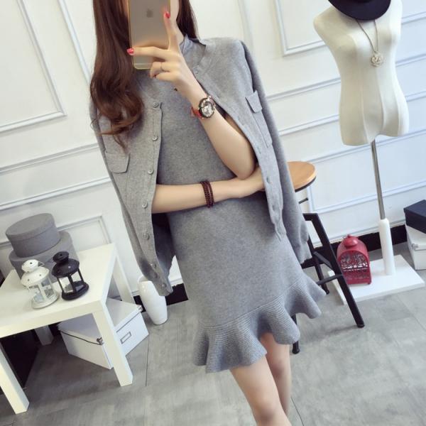 梨卡 - 四色可選秋冬小香風連身裙長袖外套小裙擺修身兩件組套裝B560