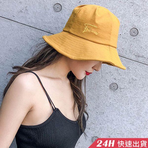 【現貨24H】梨卡 - 韓版百搭頭圍可調日系男女可戴漁夫帽/刺繡設計/防曬必備/遮陽帽/可摺好收納 /6色CLA103 漁夫帽,遮陽帽,沙灘帽,親子帽,一帽兩戴,正反可戴