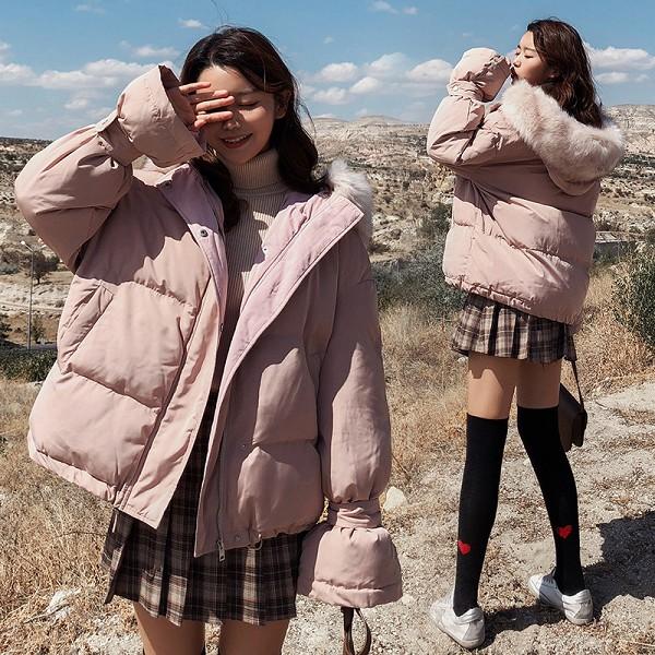 梨卡 - 粉色超甜美氣質大毛領短版防風保暖連帽鋪棉仿羽絨外套風衣大衣AR028 粉色,甜美,氣質,大毛領,短版,防風,保暖,連帽,鋪棉,仿羽絨,外套,風衣,大衣