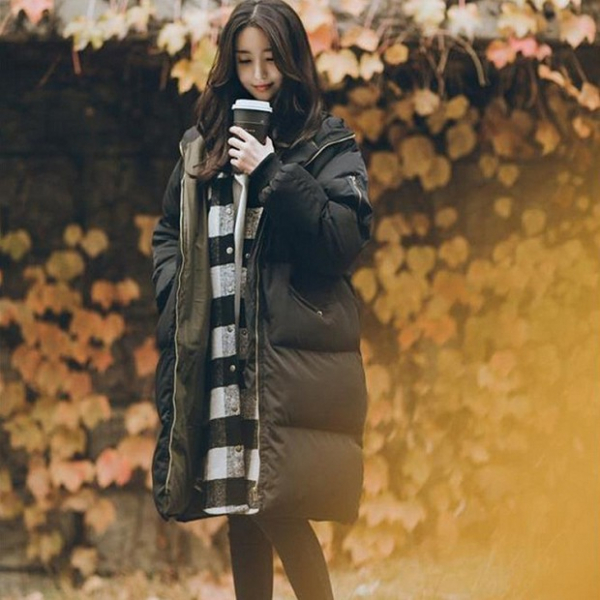 梨卡 - 正韓國代購加棉仿羽絨棉風衣外套大衣 - 韓國空運中長版厚鋪棉外套A175 加棉,仿羽絨棉,風衣,外套,大衣,韓國空運