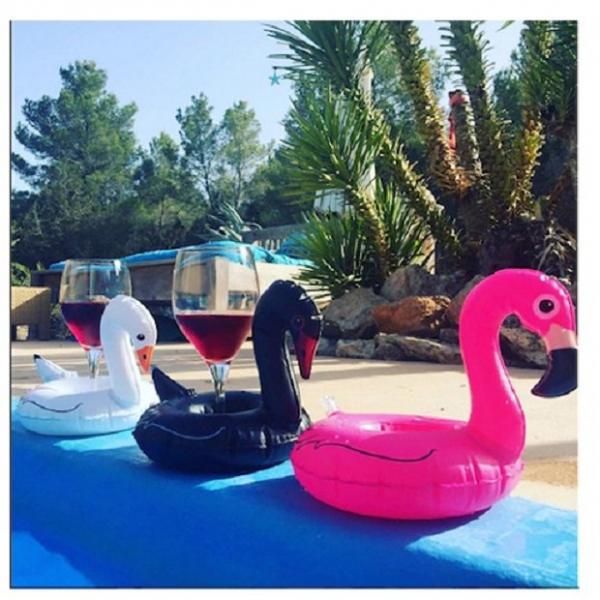 梨卡 - 黑天鵝白天鵝充氣造型特色飲料杯可放零食手機座游泳圈M095 黑天鵝,白天鵝,造型特色飲料杯,手機座游泳圈