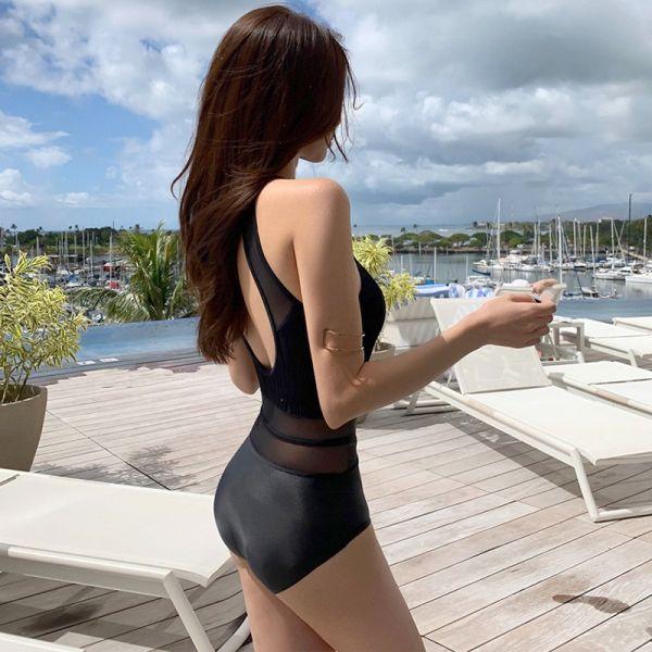 【現貨】梨卡 - 連身款泳衣比基尼泳裝 - 【性感露背+舒適無鋼圈】黑色挖空露背比基尼泳衣CR636 連身泳衣,比基尼,泳裝,性感,露背,挖空,比基尼,泳衣