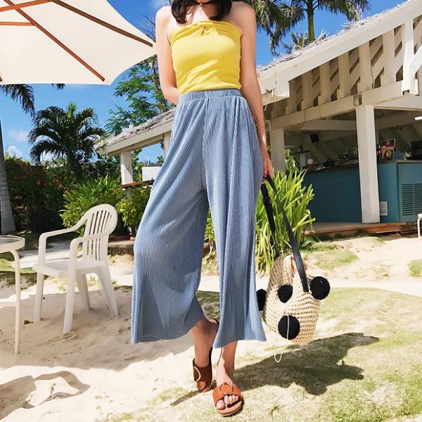 梨卡 - 度假沙灘海邊百褶涼感高腰寬鬆長褲沙灘褲C6337 百褶,涼感,高腰,寬鬆,長褲,沙灘褲