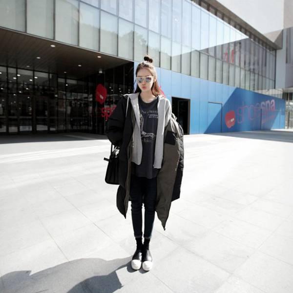 梨卡 -【韓國製】情侶可穿加棉仿羽絨棉質外套大衣正韓國代購100%韓國空運中長版鋪棉外套A817