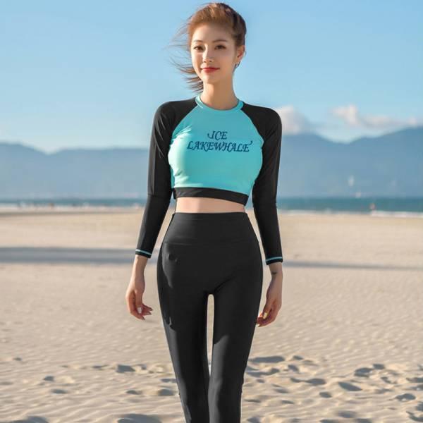 梨卡-防曬長袖四件式泳裝泳衣-【顯瘦+有胸墊】加大尺碼衝浪衣潛水衣運動套裝多件式水母衣CR680 四件式,顯瘦,加大尺碼,衝浪衣,潛水衣,運動套裝,多件式,水母衣
