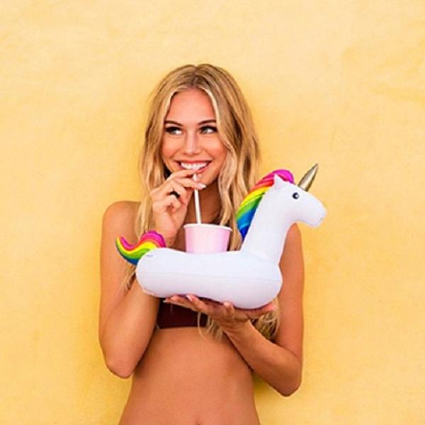 梨卡 - 夏日白色獨角獸造型特色充氣飲料杯飲料用手機座游泳圈玩水必備M087 白色,獨角獸造型,特色充氣飲料杯,飲料用手機座,游泳圈,玩水必備