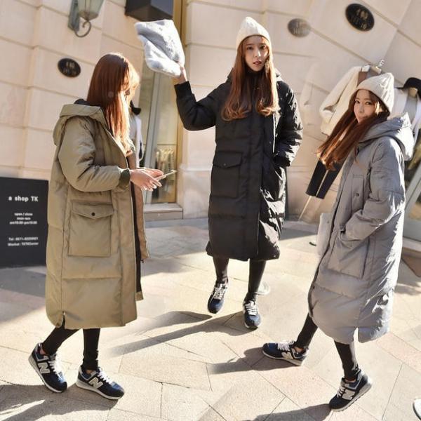 梨卡 - 小中大尺碼M-3XL正韓國代購情侶可穿超長版鋪棉連帽加厚仿羽絨風衣外套長大衣A135 秋冬,氣質,純色,慵懶感,簡約,寬鬆,長袖,針織衣,高領,超長版,開叉,連身裙,連身,長裙