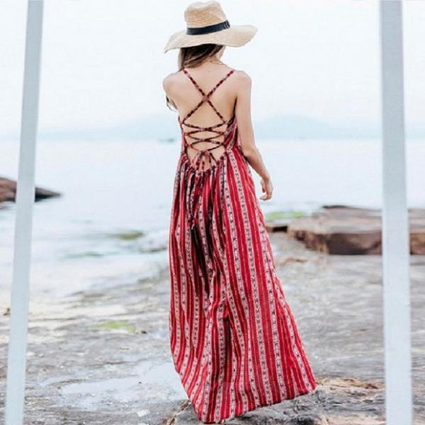 梨卡 - 波西米亞性感露背綁帶後綁帶性感開衩沙灘渡假沙灘裙連身裙C6205 波西米亞,性感,露背,綁帶,後綁帶,性感,開衩,沙灘裙,連身裙