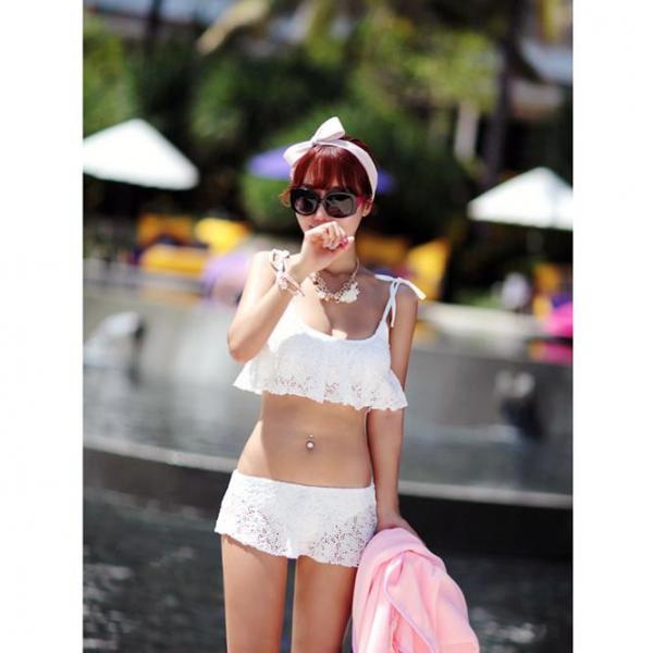 梨卡 - 鋼圈比基尼泳衣泳裝 多way波西米亞糖果色 白色 泡湯溫泉也適用Q6033 鋼圈,比基尼,泳衣,泳裝,多way,波西米亞,糖果色,白色