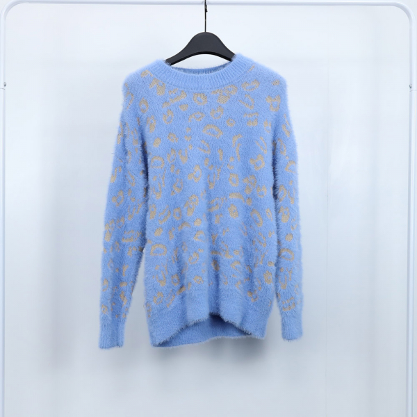 梨卡 - 甜美豹紋保暖針織衫T恤兔毛針織上衣DR028 甜美,豹紋,保暖,針織衫,T恤,兔毛,針織,上衣