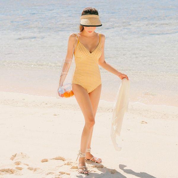 【現貨】梨卡 - 連身款泳衣比基尼泳裝 - 【舒適無鋼圈】格子甜美性感深V露背比基尼泳衣CR647 連身泳衣,比基尼,泳裝,格子,性感,深V,露背,比基尼,泳衣