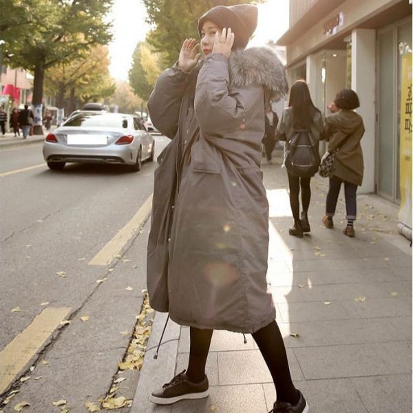 梨卡 - 情侶可穿韓版超長版抽繩超大毛領軍裝外套大衣奢華貉子毛領連帽軍綠色A982 情侶,韓版,超長版,抽繩,大毛領,軍裝外套,大衣,奢華,貉子毛,連帽,黑色,灰色