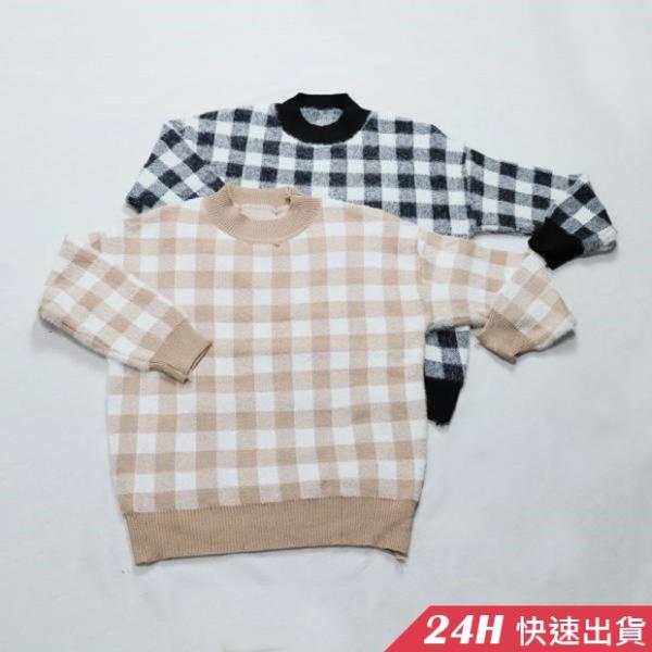 梨卡 - 甜美可愛格紋格子保暖針織衫針織上衣DR027 甜美,可愛,格紋,格子,保暖,針織衫,針織上衣