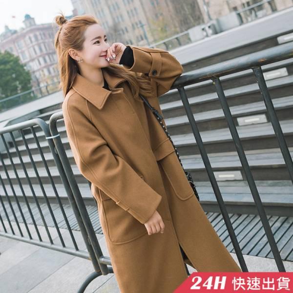 梨卡 - 【韓國製】秋冬加厚寬鬆仿羊毛毛呢大衣風衣西裝外套AR130