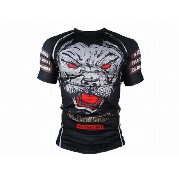 BLACK BULL Rashguard FACE Short Sleeve Black