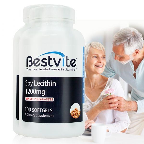 即期【美國BestVite】必賜力高濃縮卵磷脂膠囊2瓶組 (100顆*2瓶) 效期至2022/4 高濃縮卵磷脂,BestVite,必賜力,保健食品