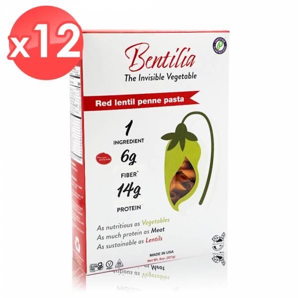 【BENTILIA】美國原裝進口紅扁豆義大利筆管麵12包 (225公克*12包) BENTILIA,紅扁豆,義大利筆管麵