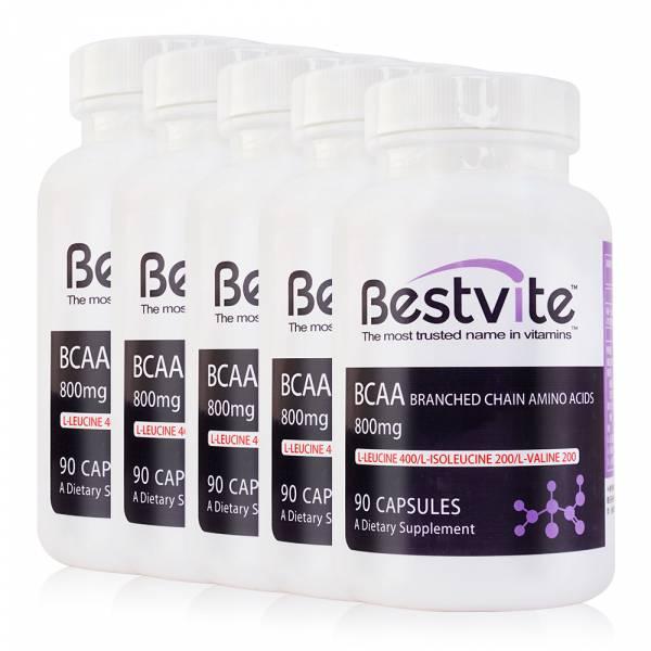【美國BestVite】必賜力BCAA支鏈胺基酸膠囊5瓶組 (90顆*5瓶) BCAA支鏈胺基酸,BestVite,必賜力,保健食品