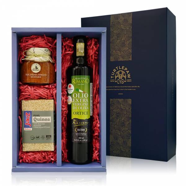 朱玉滿堂禮盒-羅蔓諾橄欖油.喬斯白藜麥.英橋夫人果醬 禮盒組,橄欖油,白藜麥,果醬