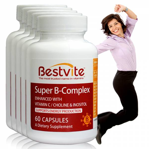 【美國BestVite】必賜力超級維他命B群膠囊5瓶組 (60顆*5瓶) 超級維他命B,BestVite,必賜力,保健食品