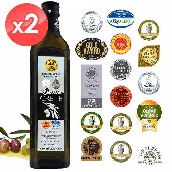【Oleum Crete】奧莉恩頂級初榨橄欖油(750ml*2瓶) Oleum Crete,奧莉恩,初榨橄欖油,橄欖油,食用油,油