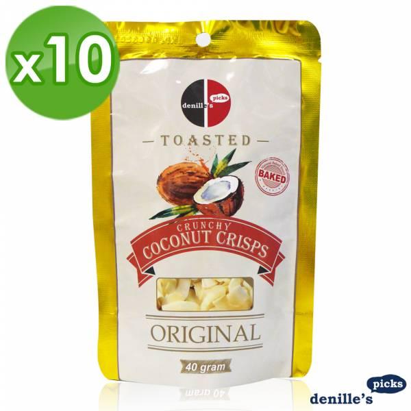 【Denille's Picks】薄烤椰子脆片-原味(40公克*10包)泰國原裝進口 Denille's Picks,椰子脆片,泰國,餅乾
