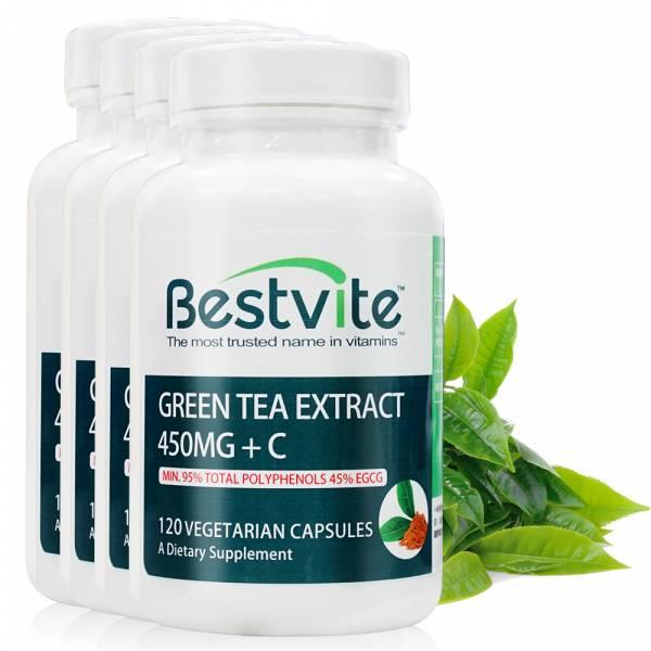 【美國BestVite】必賜力綠茶萃取膠囊+維生素C膠囊4瓶組 (120顆*4瓶) 綠茶萃取+維生素C,BestVite,必賜力,保健食品,綠茶,維他命C,維生素C
