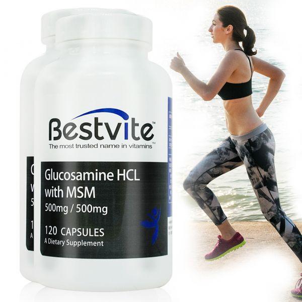 【美國BestVite】必賜力葡萄糖胺+MSM膠囊2瓶組 (120顆*2瓶) 葡萄糖胺+MSM,BestVite,必賜力,保健食品