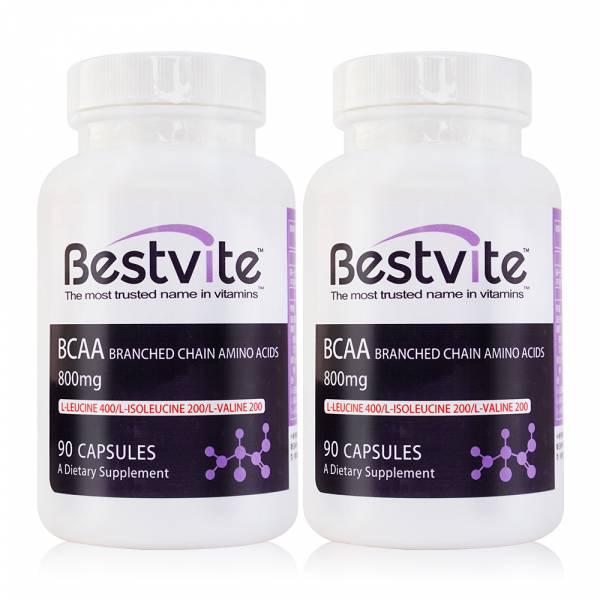 【美國BestVite】必賜力BCAA支鏈胺基酸膠囊2瓶組 (90顆*2瓶) BCAA支鏈胺基酸,BestVite,必賜力,保健食品