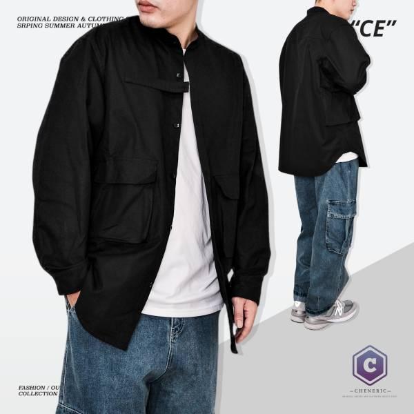 【四口袋工裝襯衫外套】日系圓領寬鬆夾克oversize 黑 日系,圓領,襯衫,外套,夾克,工裝