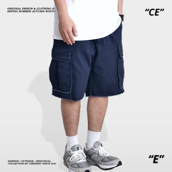 ★OUTLET★【未修邊工裝短褲】Cargo shorts 大口袋 藏青 工裝褲,工作褲,牛仔褲,寬褲,繭型,上寬下窄,大口袋,彈性,cheneric,esc select,hy select,goopi,jks