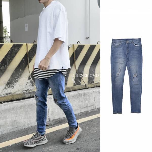 【水洗藍小破壞牛仔褲】 薄款彈性佳水洗修身 水洗藍,彈性佳,破壞,牛仔褲,修身,合身