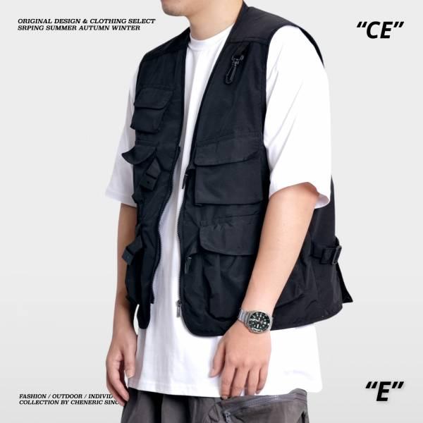 【機能工裝背心】尼龍多口袋雙層透氣Vest 黑 機能,背心,多口袋,尼龍,cheneric