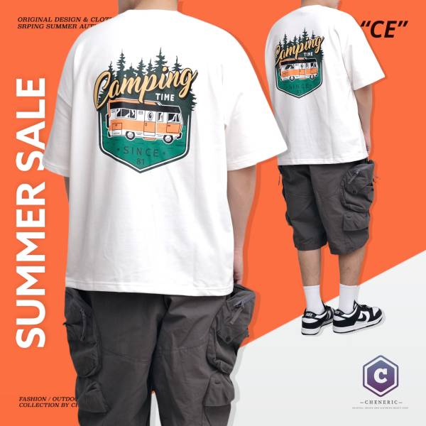 ★OUTLET★【CAMPING BUS TEE】 美式大圖五分袖 白 outdoor,短T,美式,大圖,cheneric,esc select,hy select,goopi,jks