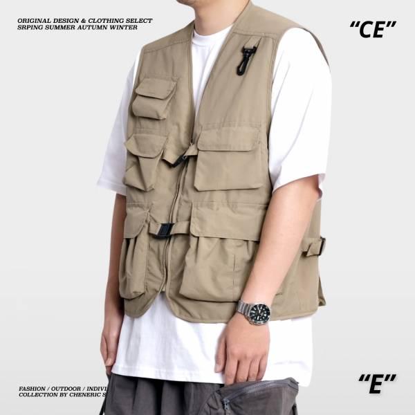 【機能工裝背心】尼龍多口袋雙層透氣Vest 卡其 機能,背心,多口袋,尼龍,cheneric
