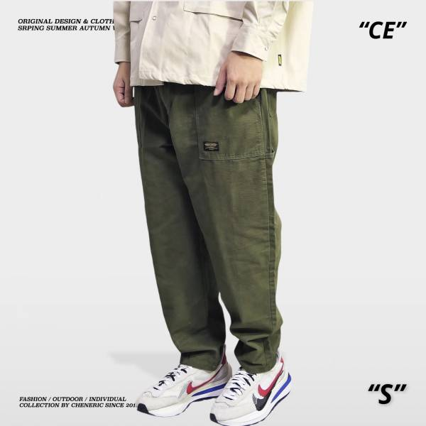【小直筒錐形工作褲】上寬下窄 軍綠 錐形,上寬下窄,工作褲,cheneric,esc select,hy select,goopi,jks