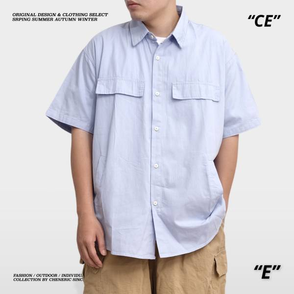 ★OUTLET★【日式棉質工裝襯衫】寬鬆腰側口袋Cityboy 淺藍 工裝,cityboy ,日系,襯衫,寬鬆,cheneric