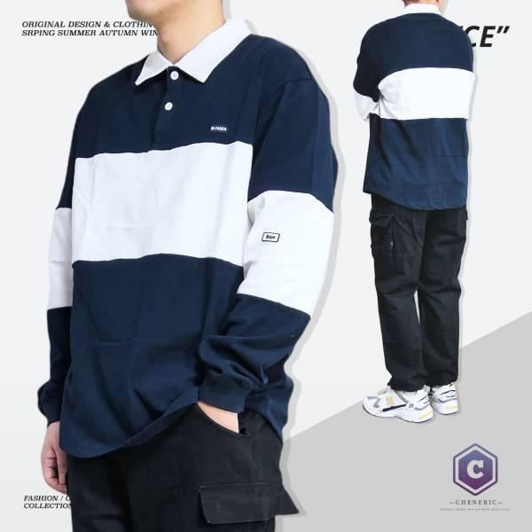 【拼色長袖Polo衫】日系寬鬆撞色Cityboy 深藍 撞色,拼接,polo衫,cityboy,拚色,日系,寬鬆,oversize