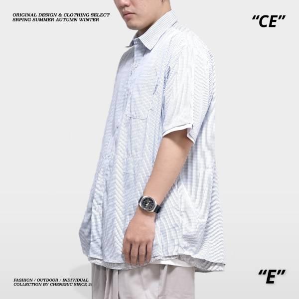 【細格紋短袖襯衫】寬鬆層次假兩件Cityboy 假兩件,層次,日系,襯衫,寬鬆,cheneric