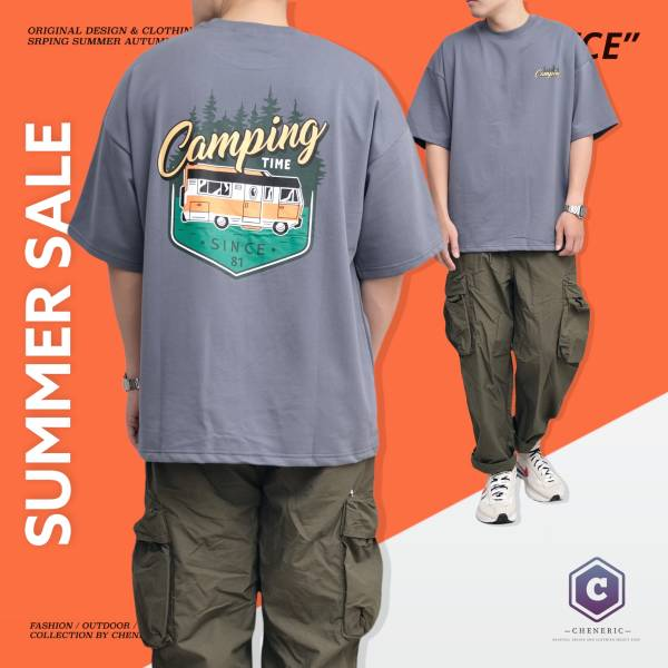 ★OUTLET★【CAMPING BUS TEE】 美式大圖五分袖 灰藍 outdoor,短T,美式,大圖,cheneric,esc select,hy select,goopi,jks