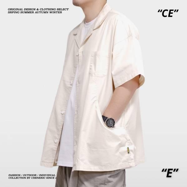 ★OUTLET★【古巴領工裝襯衫】日系寬鬆Cityboy 米白 古巴領,日系,襯衫,寬鬆,cheneric